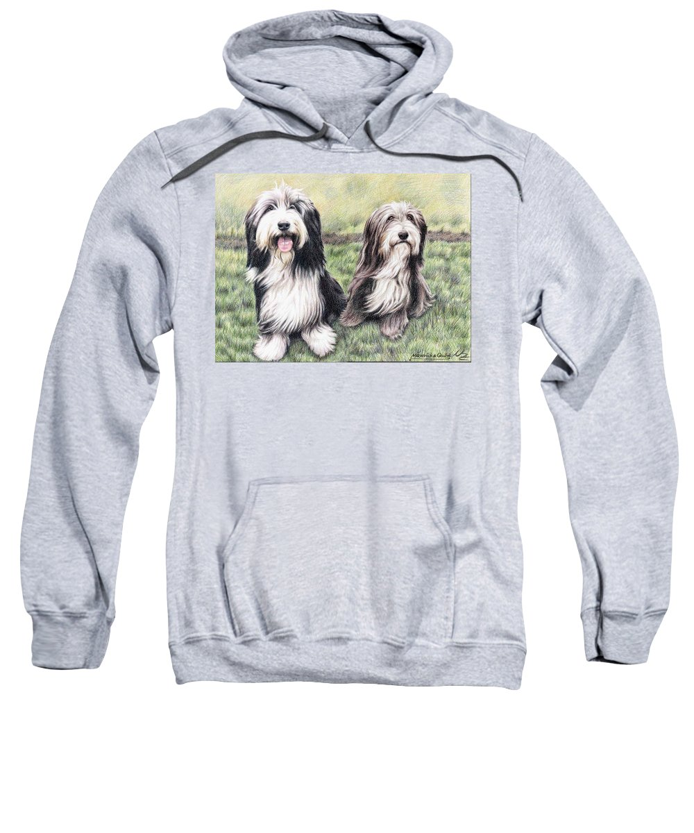 Dogs Sweatshirt featuring the drawing Bearded Collies by Nicole Zeug