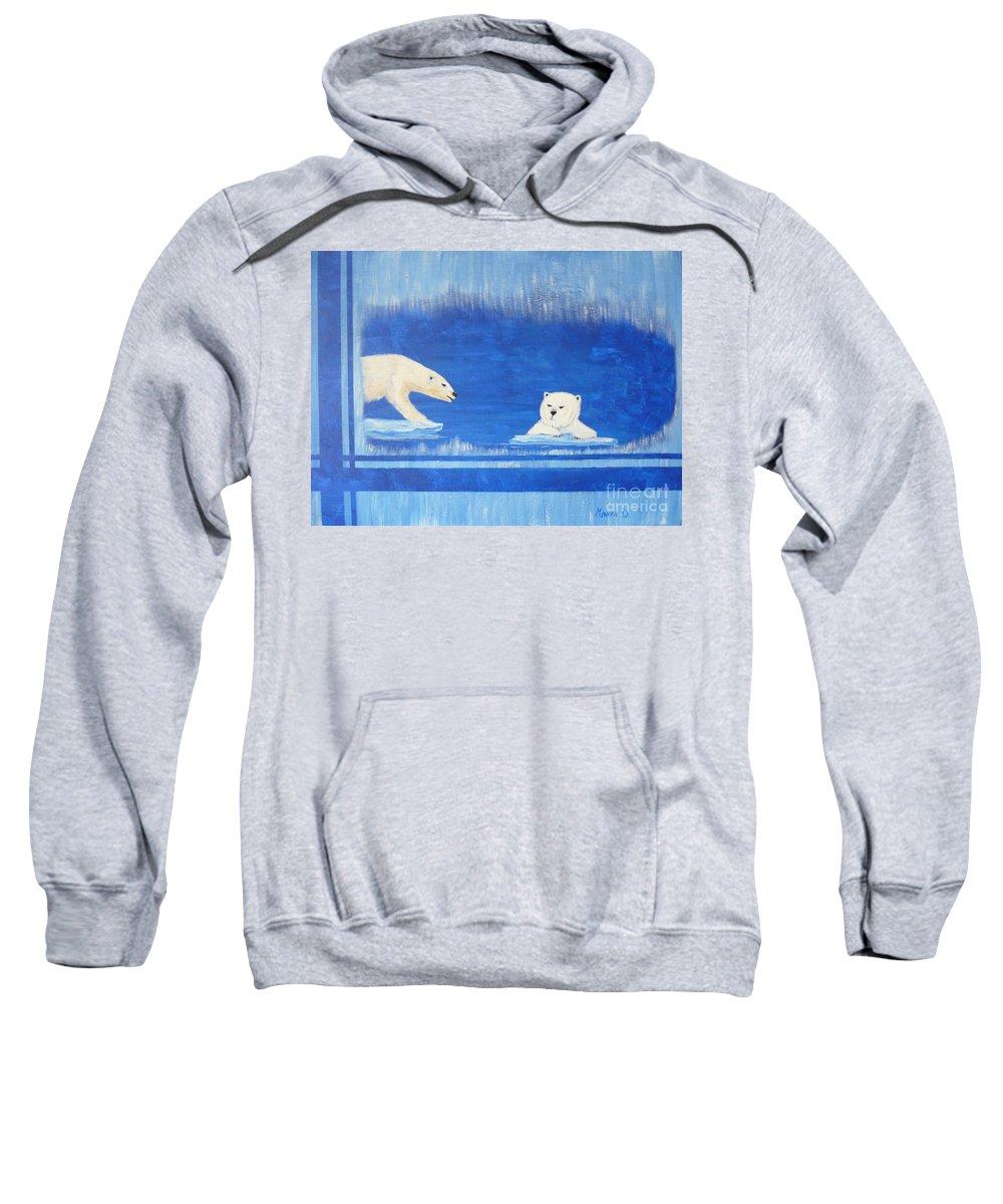 Polar Bear Sweatshirt featuring the painting Bears In Global Warming by Monika Shepherdson