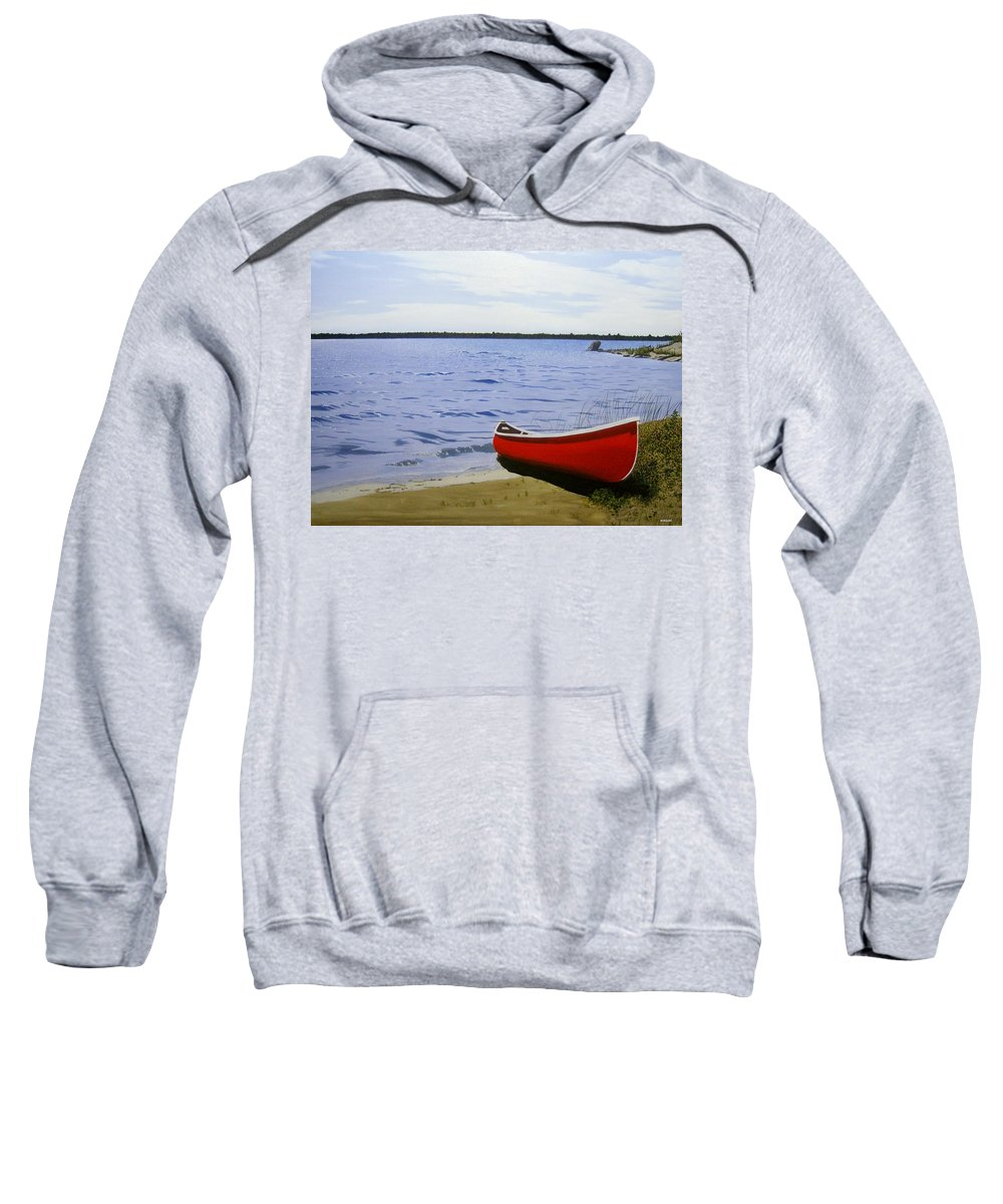 Landscpaes Sweatshirt featuring the painting Beaultiful Red Canoe by Kenneth M Kirsch