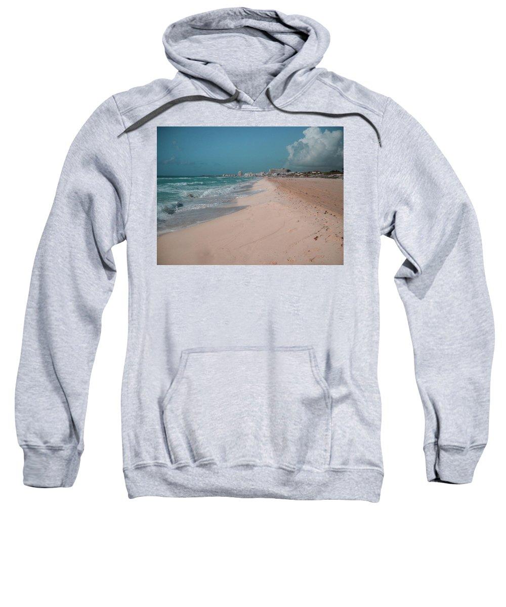 Beach Sweatshirt featuring the digital art Beautiful Beach In Cancun, Mexico by Nicolas Gabriel Gonzalez