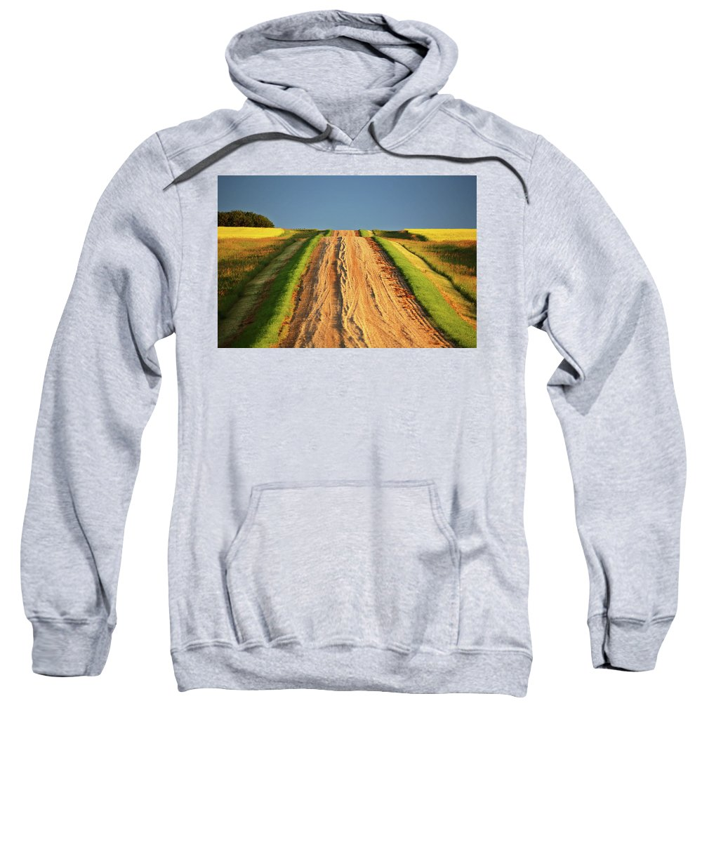 Dark Sweatshirt featuring the digital art Beautiful Colors Along A Saskatchewan Country Road by Mark Duffy