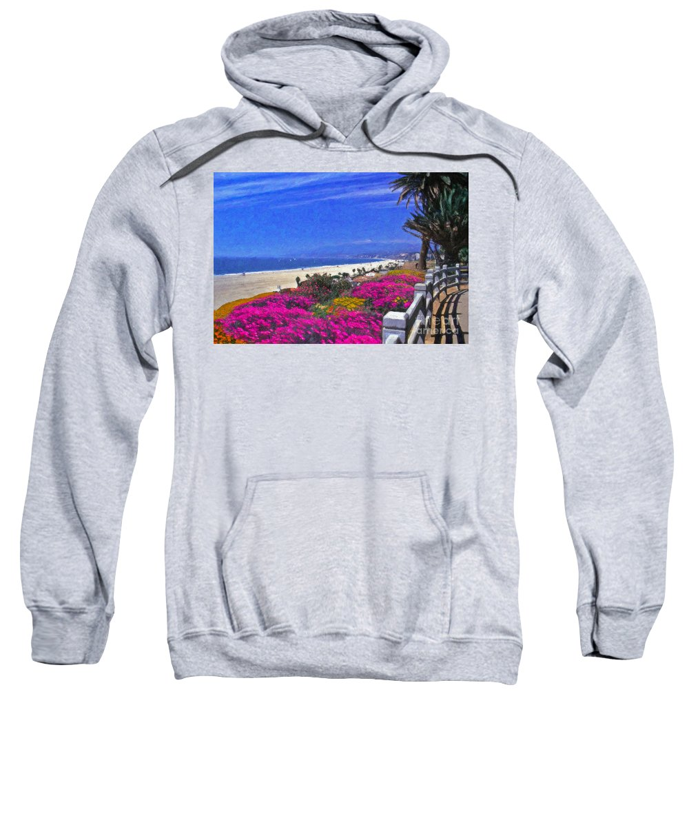 Beautiful Santa Monica Ca Palisades Park View Malibu Point Dume Sweatshirt featuring the photograph Beautiful Santa Monica Ca by David Zanzinger