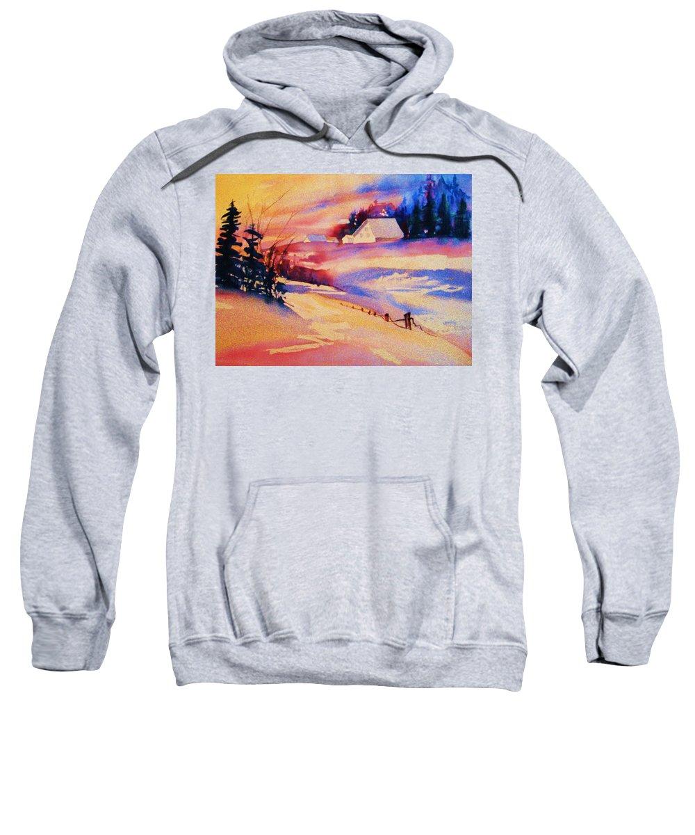 Winterscene Sweatshirt featuring the painting Beautiful Serenity by Carole Spandau