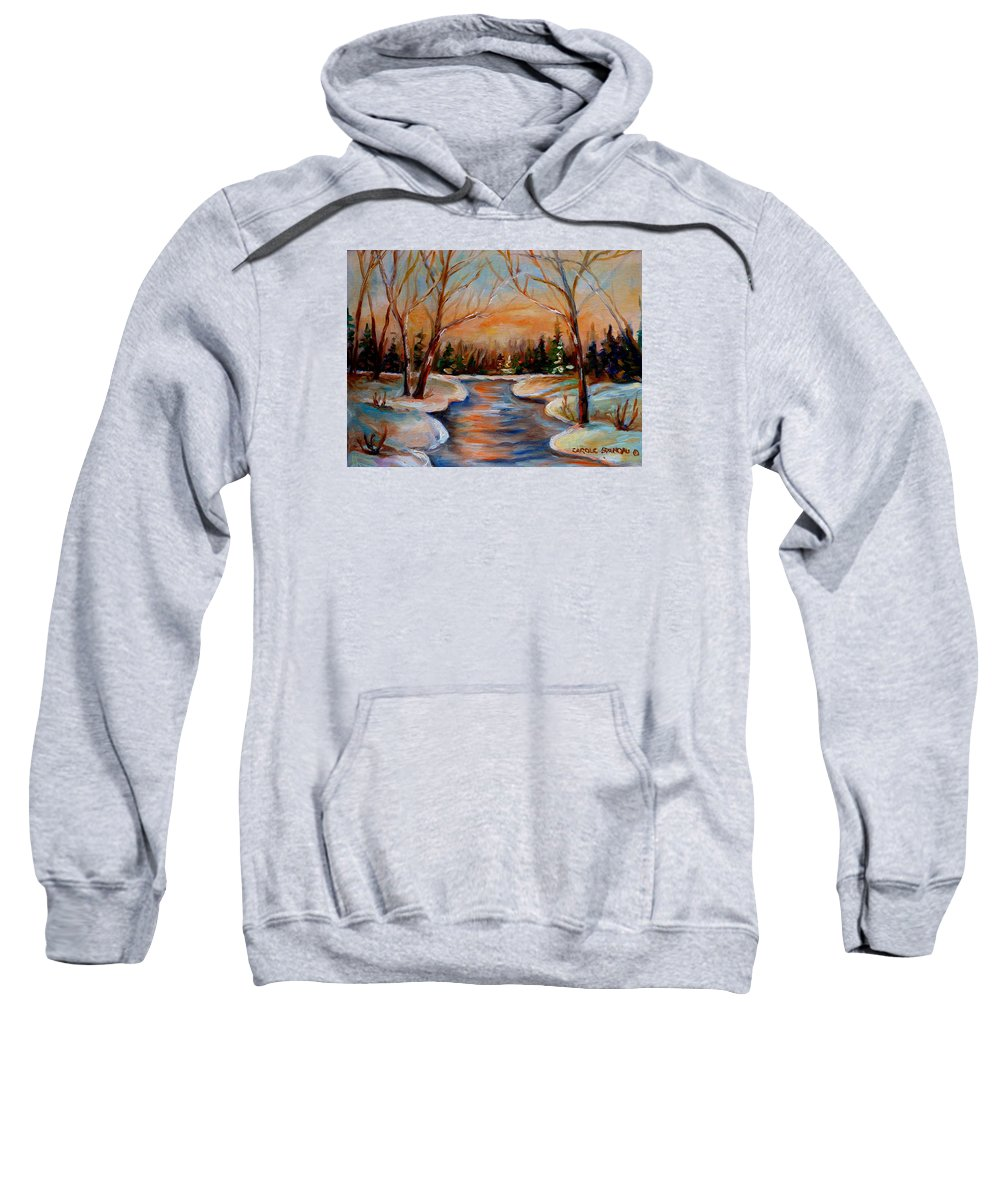 Sweatshirt featuring the painting Beautiful Spring Thaw by Carole Spandau