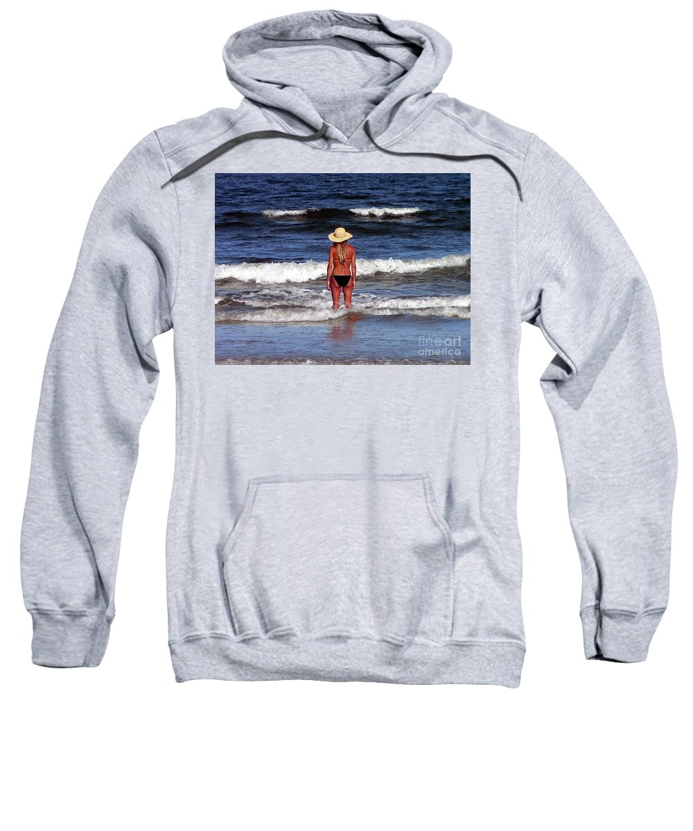 Blonde Sweatshirt featuring the photograph Beauty And The Beach by Al Powell Photography USA