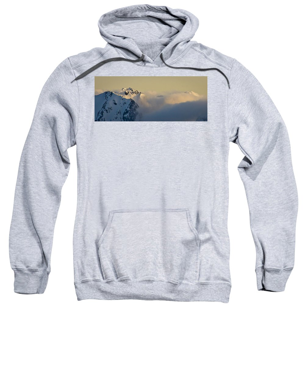 Olympic Mountains Sweatshirt featuring the photograph Beauty Belies The Danger. by Albert Seger