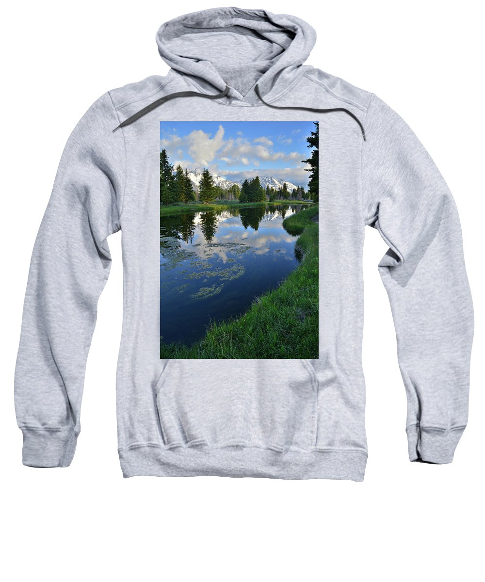 Grand Teton National Park Sweatshirt featuring the photograph Beaver Dam At Schwabacher Landing by Ray Mathis