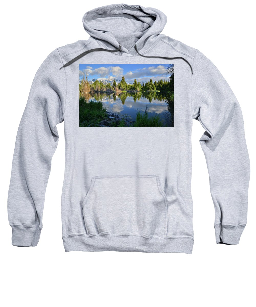 Grand Teton National Park Sweatshirt featuring the photograph Beaver Dam Reflection In Grand Teton Np by Ray Mathis