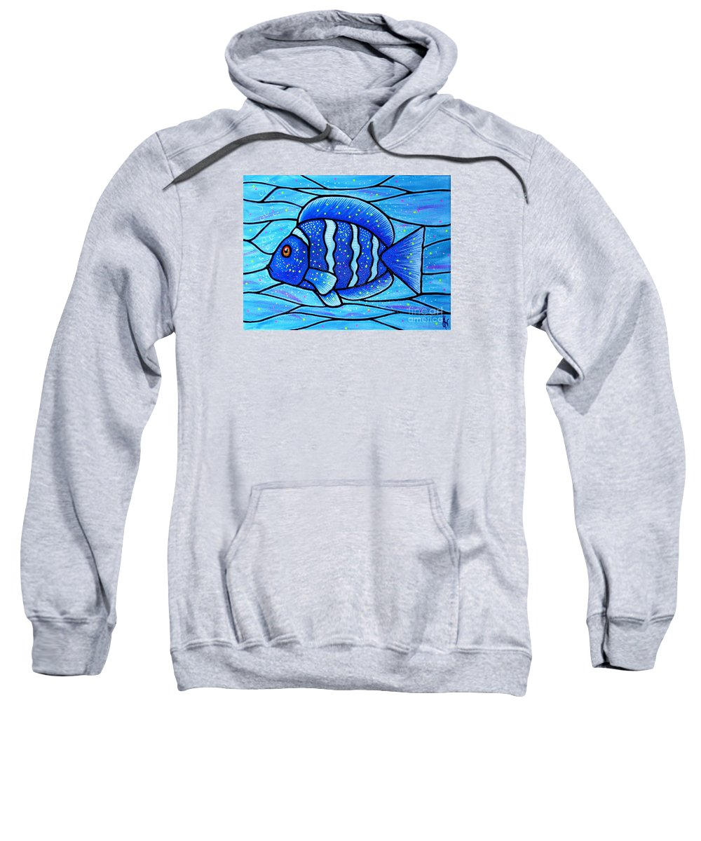 Tropical Fish Sweatshirt featuring the painting Beckys Blue Tropical Fish by Jim Harris