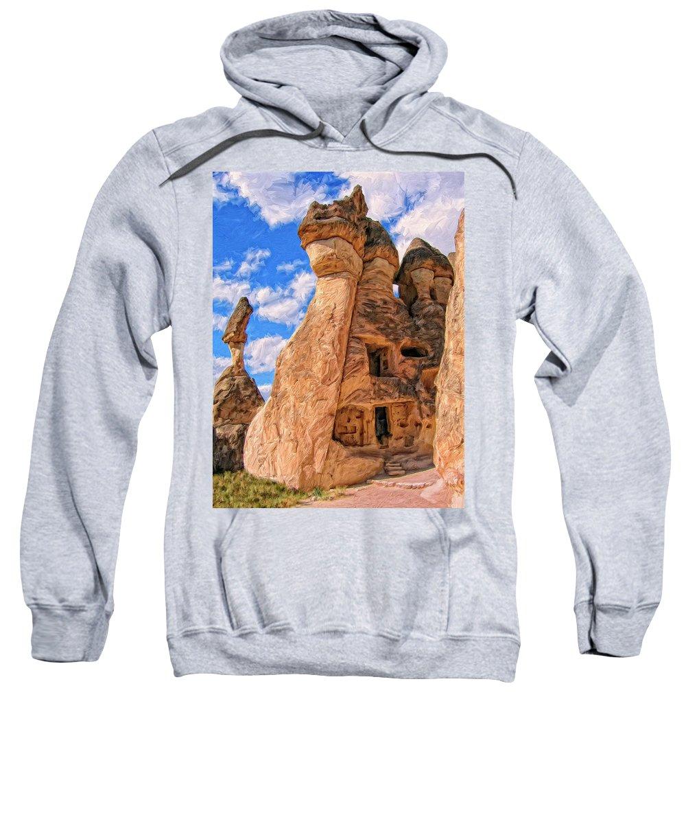 Bedrock Estates Sweatshirt featuring the painting Bedrock Estates by Dominic Piperata