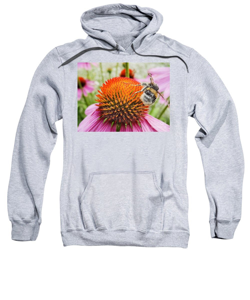 Air Sweatshirt featuring the photograph Bee And Pink Flower by Vadzim Kandratsenkau