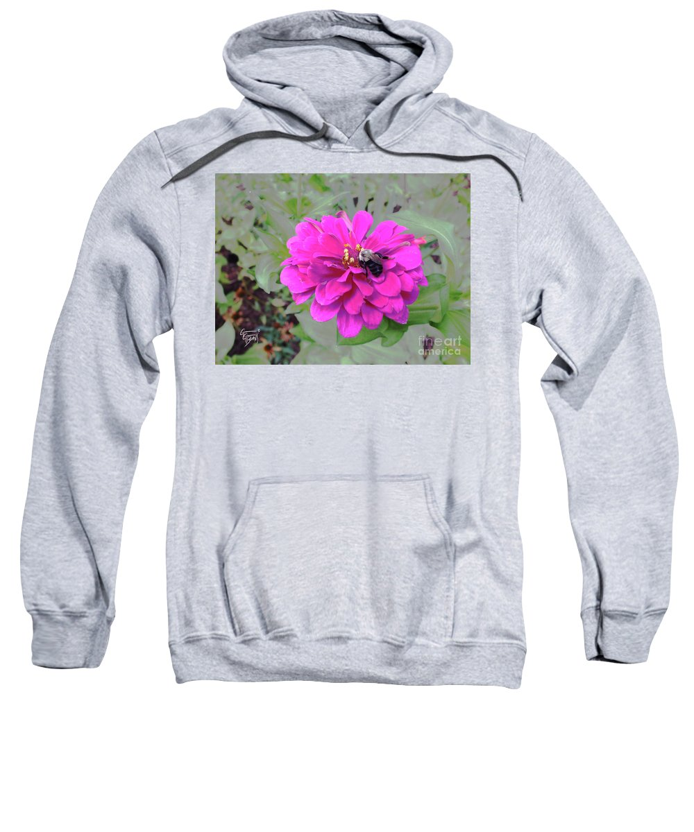 #gardenart Sweatshirt featuring the photograph Bee Feeding From Pink Zinnia by GG Burns