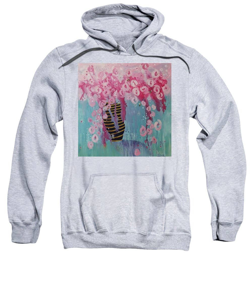 Bees Sweatshirt featuring the painting Bees In Pink by Susan Curtin
