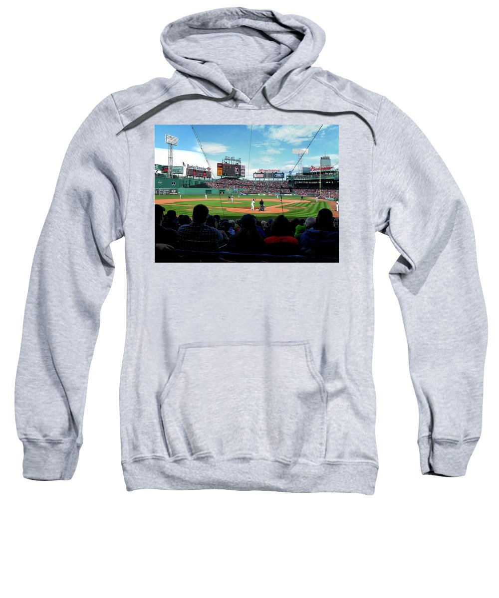 Fenway Park Sweatshirt featuring the photograph Behind Home Plate At Fenway by Autism Spectrum Counseling