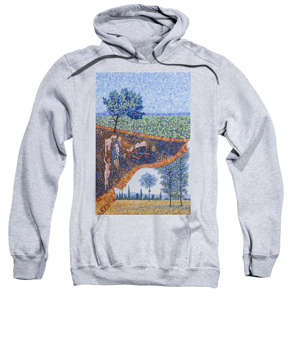 Canvas Sweatshirt featuring the painting Behind the Canvas by Judy Henninger