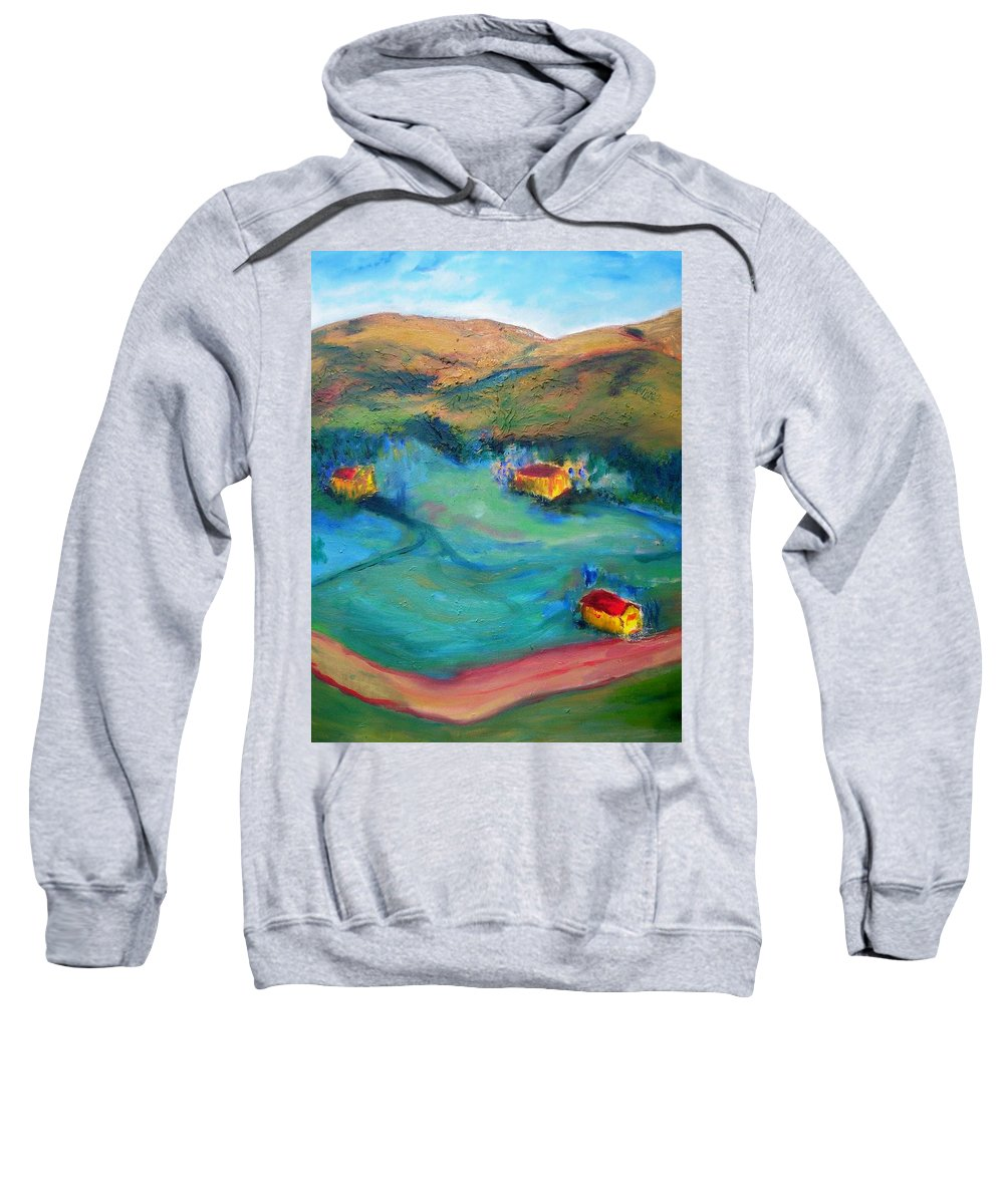 Landscape Sweatshirt featuring the painting Beit Shemesh by Suzanne Udell Levinger
