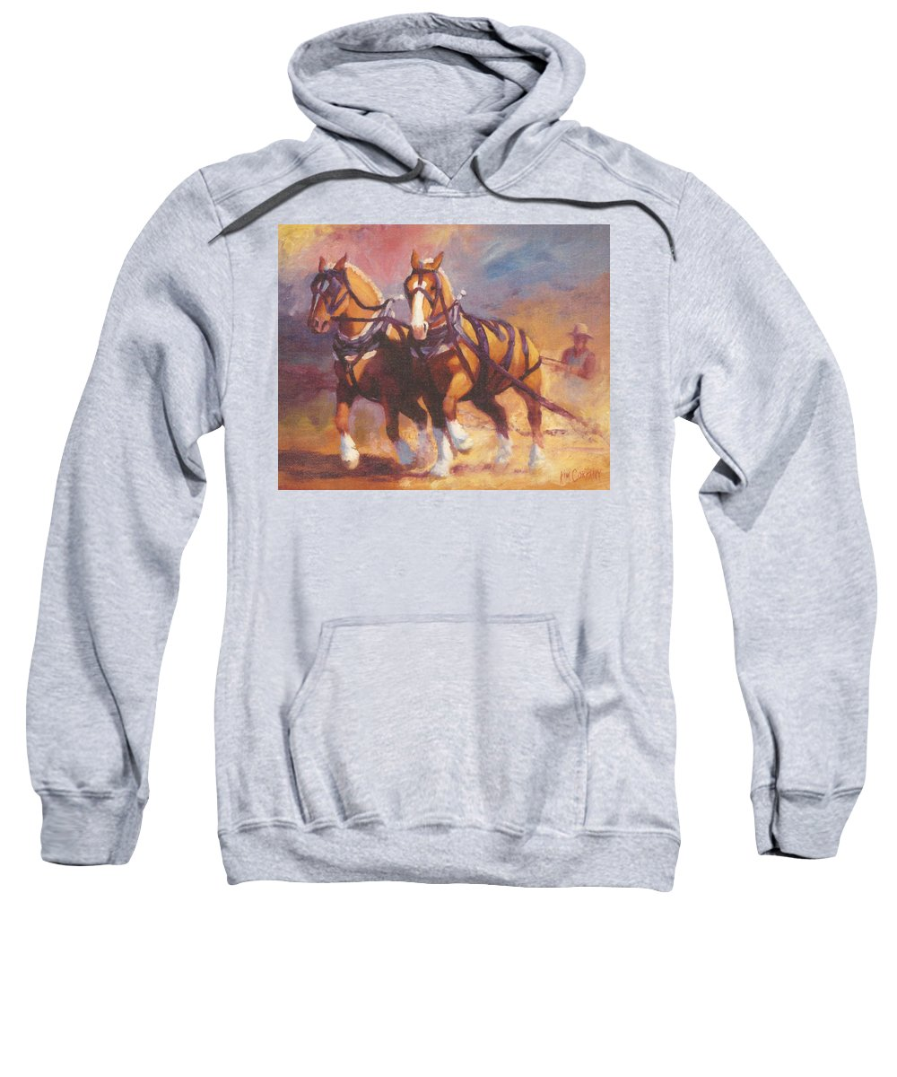 Horse Sweatshirt featuring the painting Belgian Team Pulling Horses Painting by Kim Corpany