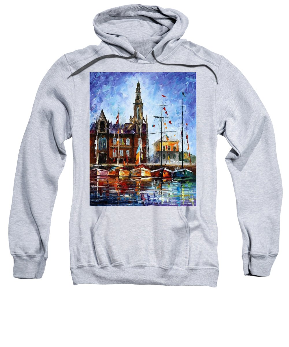 Afremov Sweatshirt featuring the painting Belgium by Leonid Afremov
