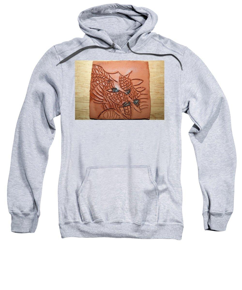 Jesus Sweatshirt featuring the ceramic art Belinda And Carl - Tile by Gloria Ssali