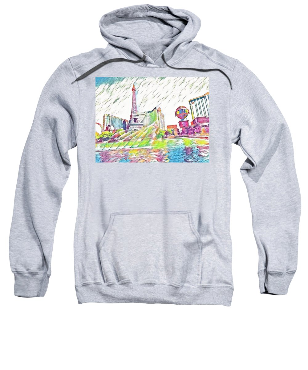 Las Vegas Sweatshirt featuring the mixed media Bellagio Fountains by Aurora Bautista