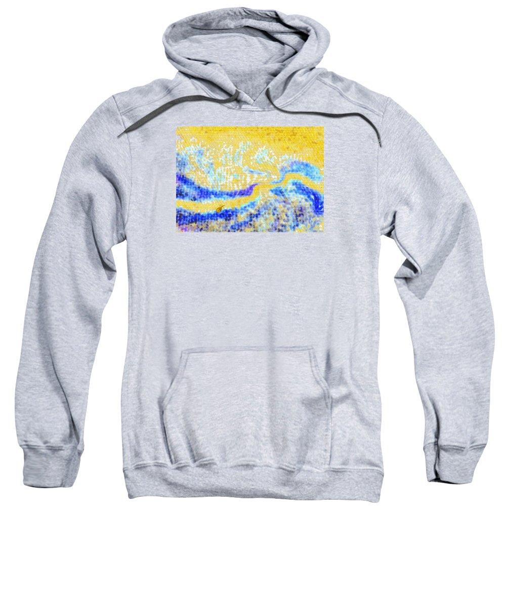 Mosaic Sweatshirt featuring the digital art Beloved Shore by Mathilde Vhargon