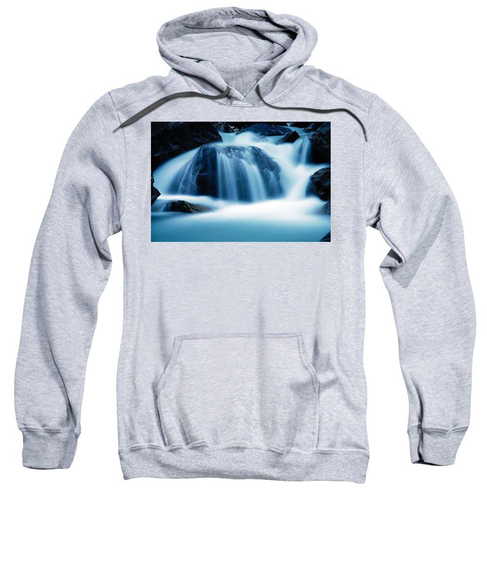 Takakkaw Falls Sweatshirt featuring the photograph Below Tak Falls by Larry Ricker