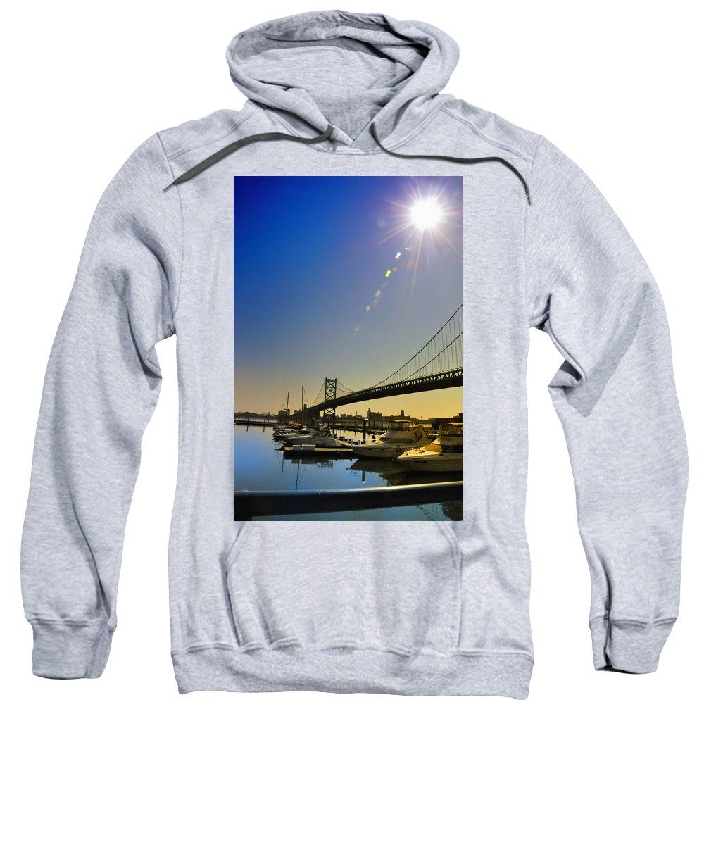 Philadelphia Sweatshirt featuring the photograph Ben Franklin Bridge From The Marina by Bill Cannon
