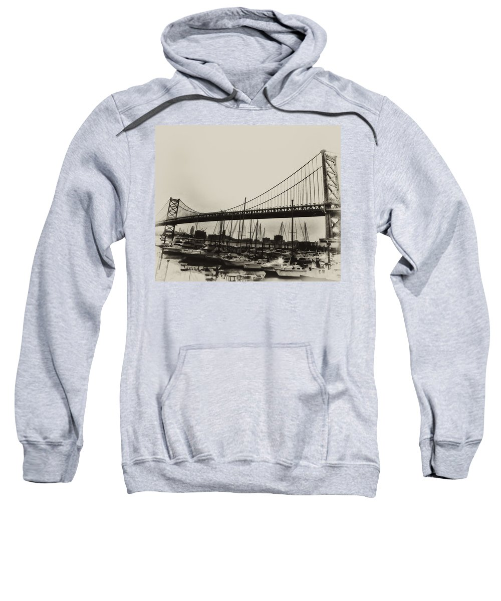 Philadelphia Sweatshirt featuring the photograph Ben Franklin Bridge From The Marina In Black And White. by Bill Cannon