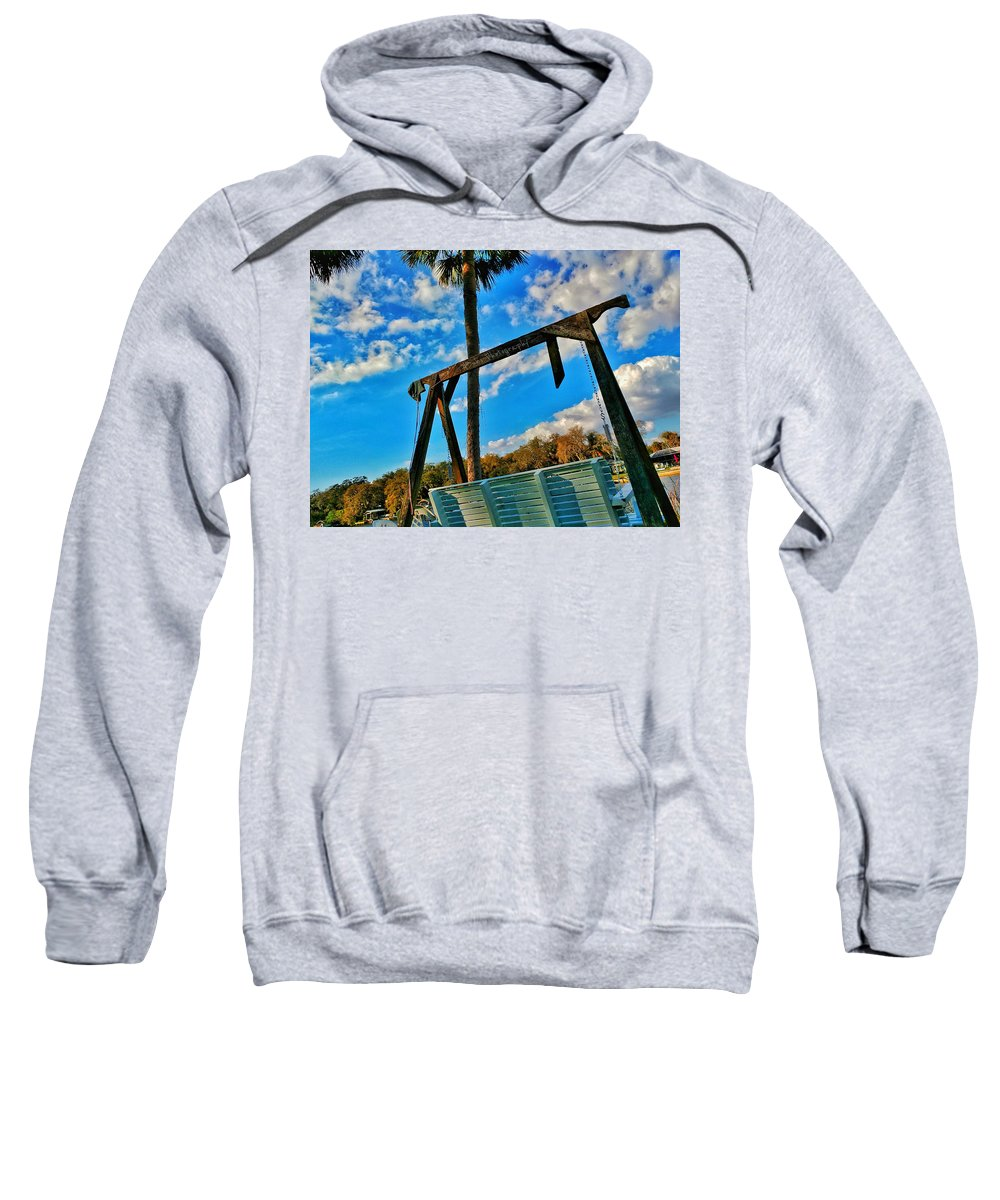 River Sweatshirt featuring the photograph Bench On The River by Allen Williamson