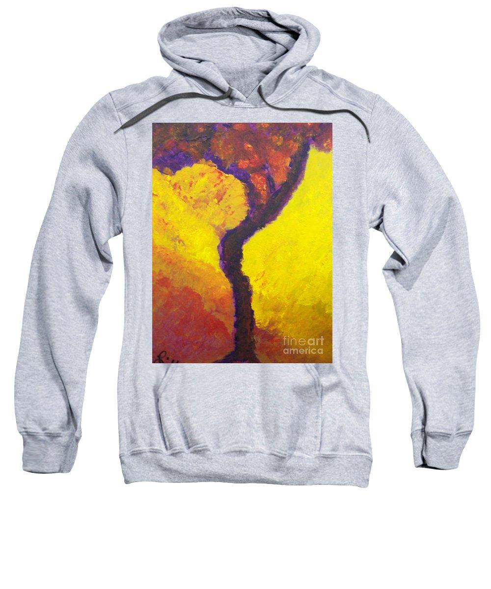 Bendy Tree Sweatshirt featuring the painting Bendy Tree by Laurette Escobar