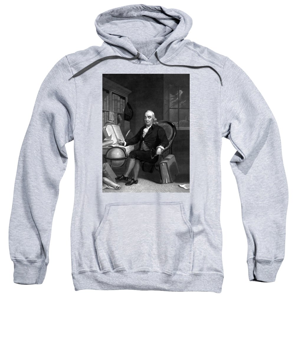Benjamin Franklin Sweatshirt featuring the painting Benjamin Franklin -- The Scientist by War Is Hell Store