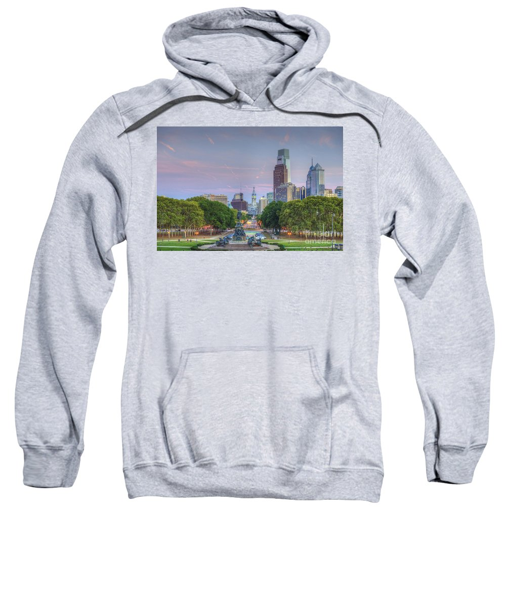 Philadelphia City Hall Sweatshirt featuring the photograph Benjamin Franklin Parkway City Hall by David Zanzinger