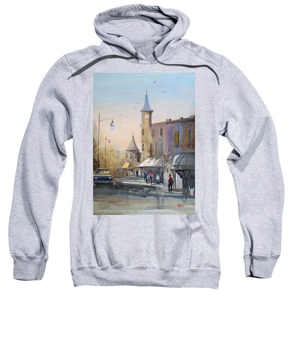 Watercolor Sweatshirt featuring the painting Berlin Clock Tower by Ryan Radke