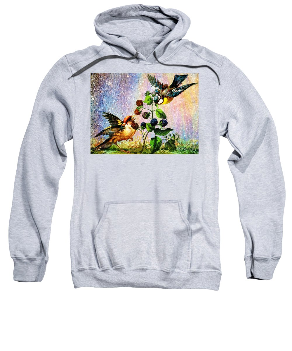Birds Berries Colorful Bright Nature Cheerful Yellow Rainbow Sweatshirt featuring the mixed media Berries And Birds by Tammera Malicki-Wong