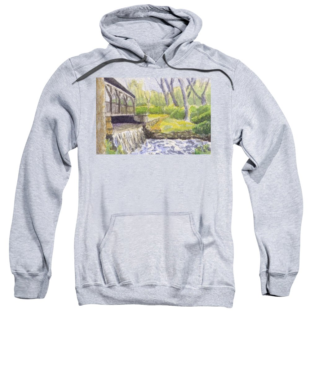 Moore State Park Sweatshirt featuring the painting Beside The Dam by Sharon E Allen