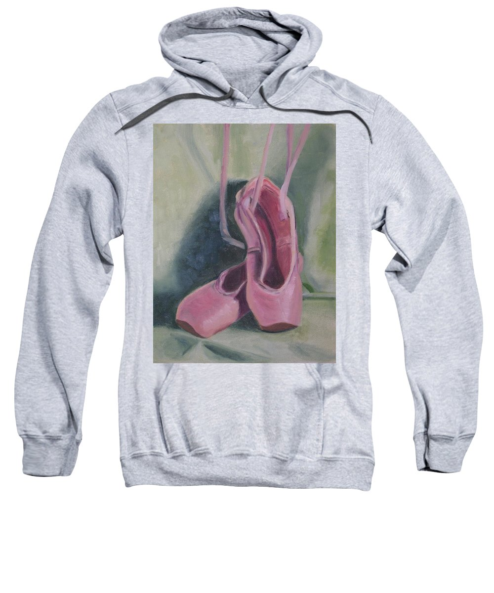 Pink Sweatshirt featuring the painting Best Foot Foward by Patricia Caldwell