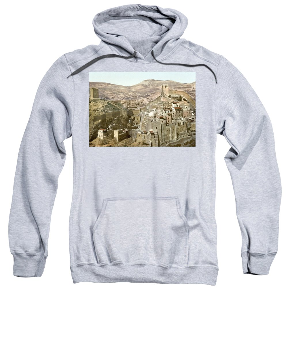 Bethlehem Sweatshirt featuring the photograph Bethlehem Mar Saba Monastery by Munir Alawi