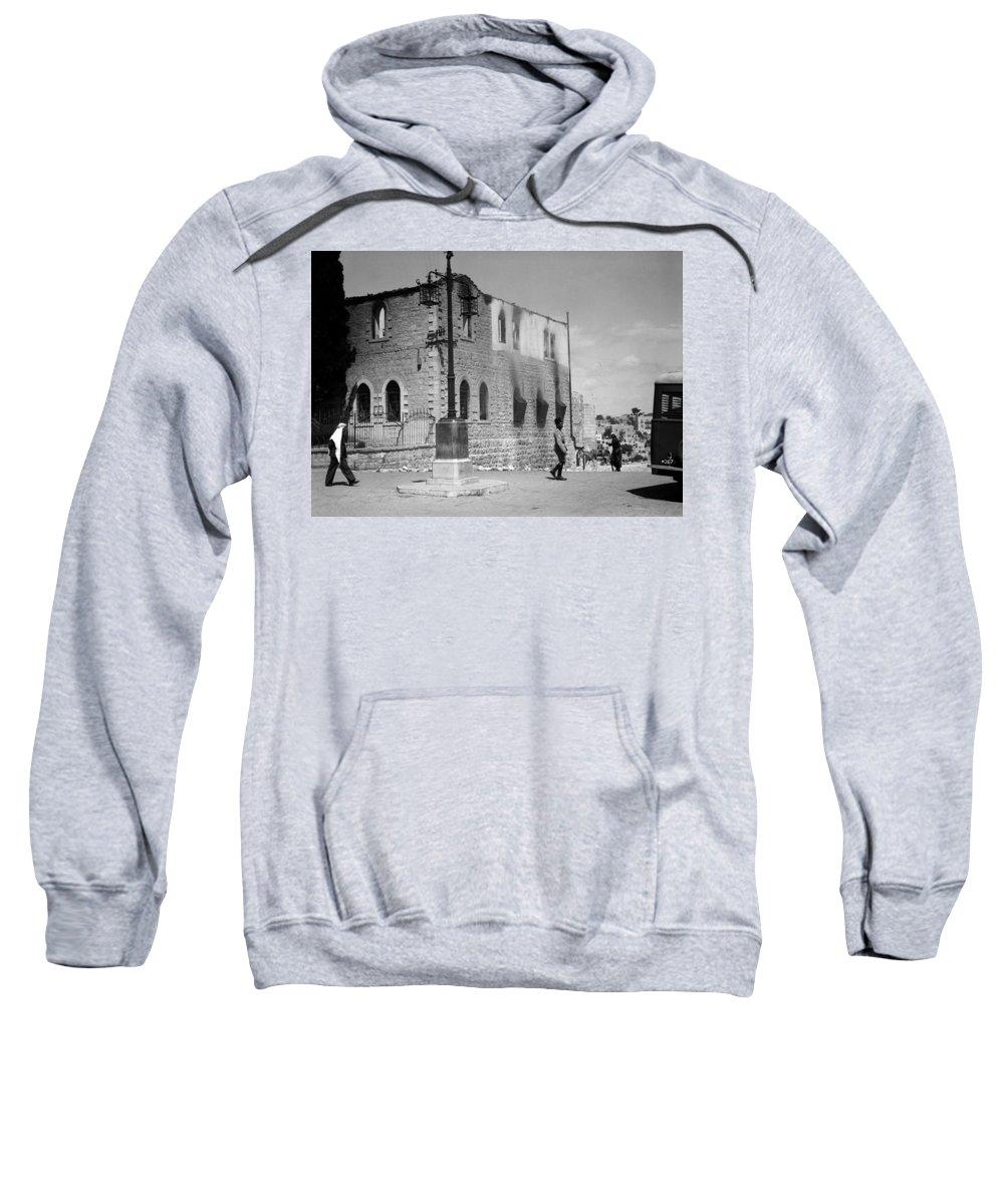 Bethlehem Sweatshirt featuring the photograph Bethlehem Police Barracks Burned Down On 1938 by Munir Alawi