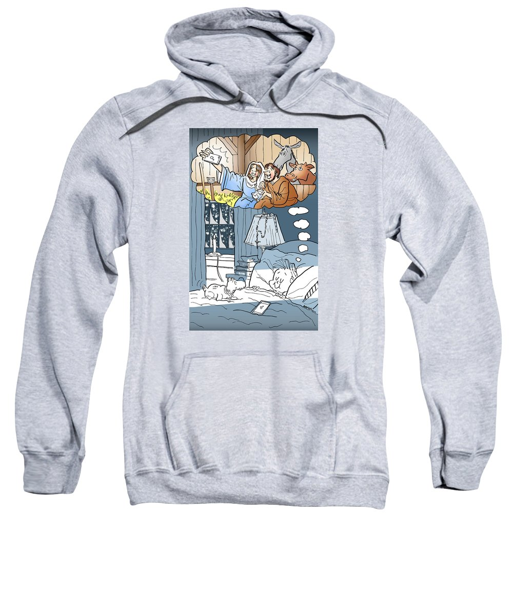 Christmas Sweatshirt featuring the digital art Nativity Selfie by Mark Armstrong