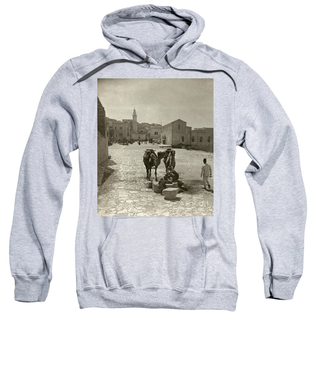 1911 Sweatshirt featuring the photograph Bethlehem: Street, C1911 by Granger