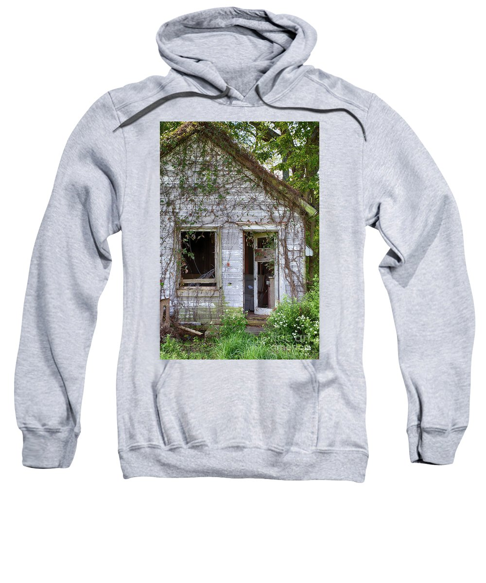Barn Sweatshirt featuring the photograph Beware All Who Enter by Terri Morris