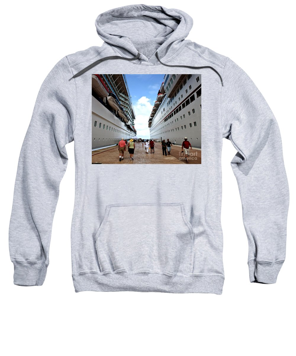 Carnival Sweatshirt featuring the photograph Beween Two Ships by Thomas Marchessault