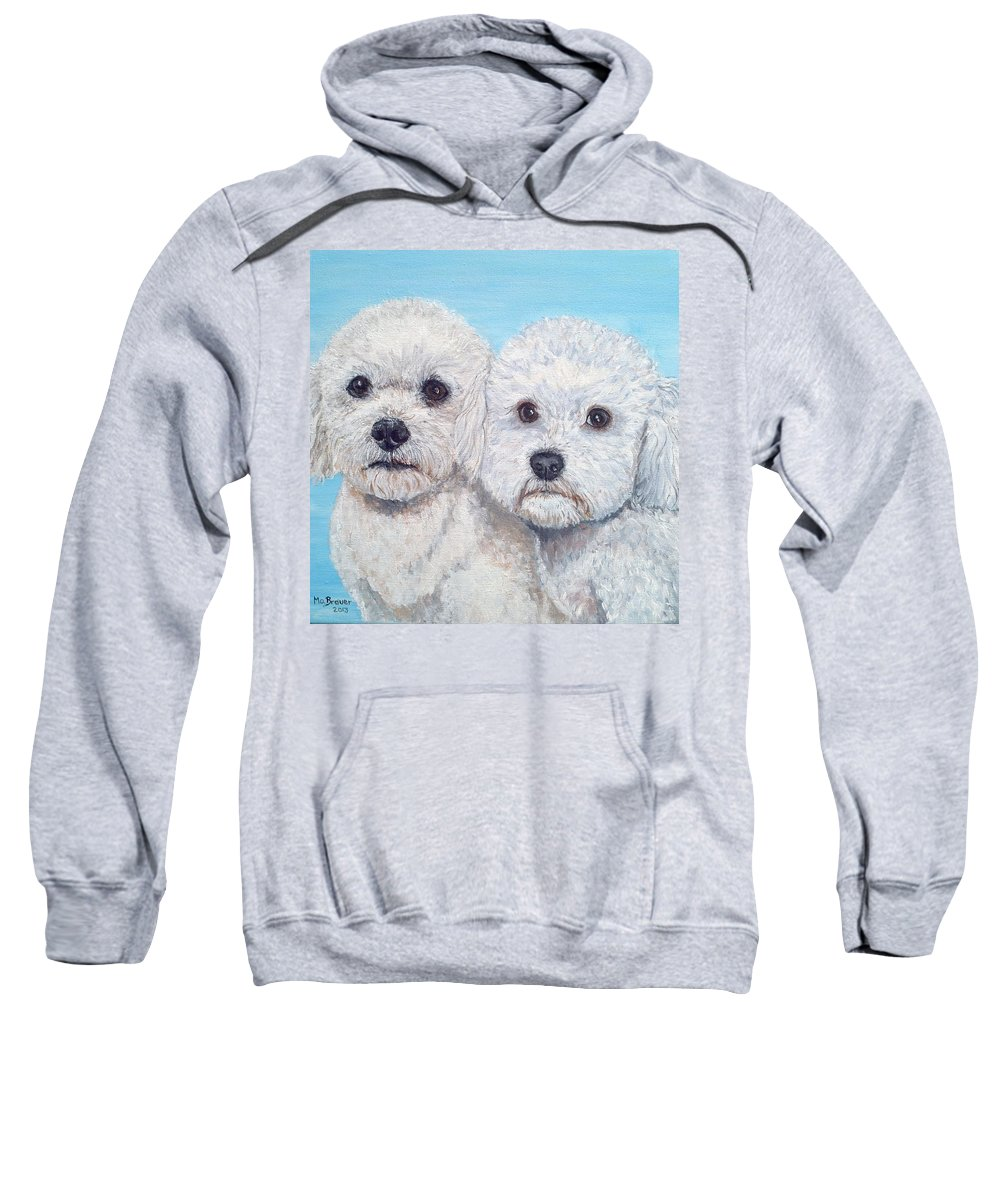 Dogs Sweatshirt featuring the painting Bichon Frisee by Monika Brauer