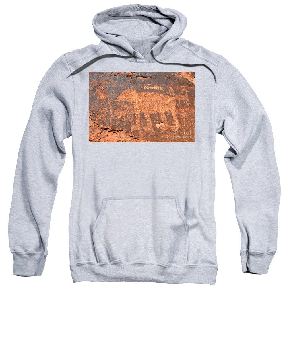 Petroglyph Sweatshirt featuring the photograph Big Bear Petroglyph by David Lee Thompson