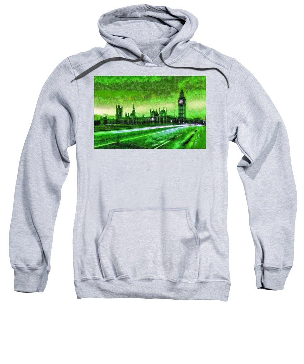 London Sweatshirt featuring the digital art Big Ben London - Da by Leonardo Digenio