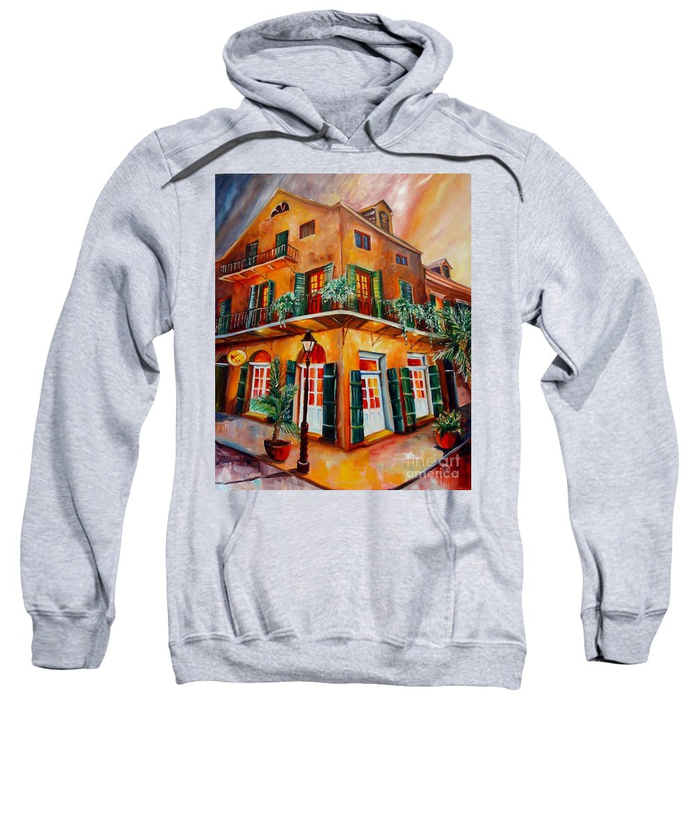 New Orleans Sweatshirt featuring the painting Big Easy Sunset by Diane Millsap