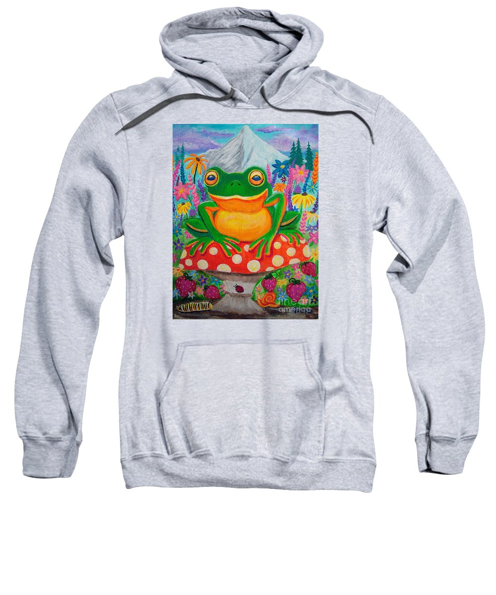 Frog Sweatshirt featuring the painting Big Green Frog On Red Mushroom by Nick Gustafson