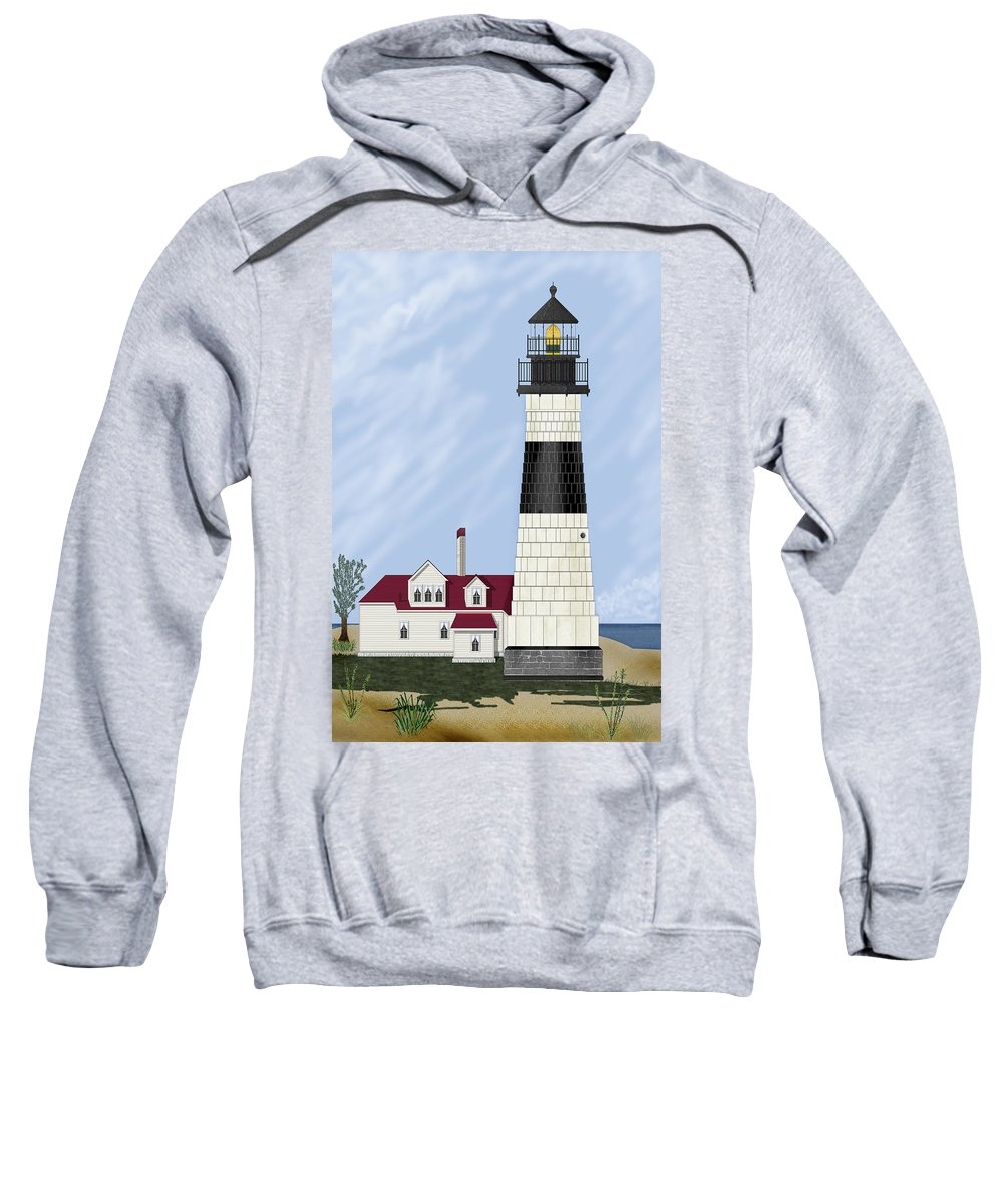 Big Sable Michigan Lighthouse Sweatshirt featuring the painting Big Sable Michigan by Anne Norskog