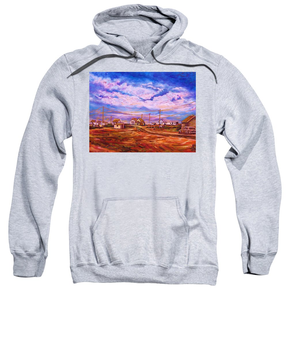 Cloudscapes Sweatshirt featuring the painting Big Sky Red Earth by Carole Spandau