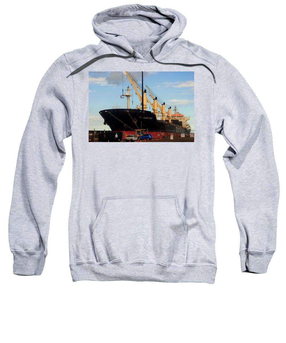 Oil Tanker Sweatshirt featuring the photograph Big Tanker In The Harbor by Susanne Van Hulst